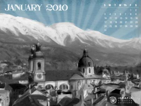 2010 January Calendar Wallpaper