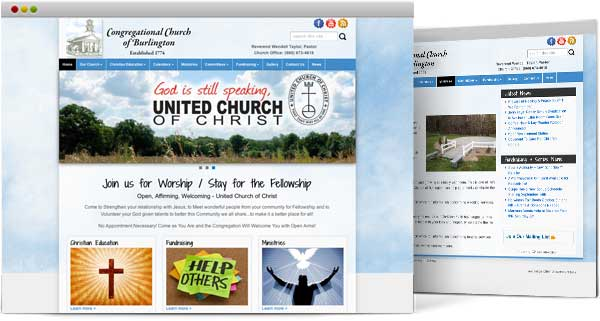 web design for Congregational Church of Burlington