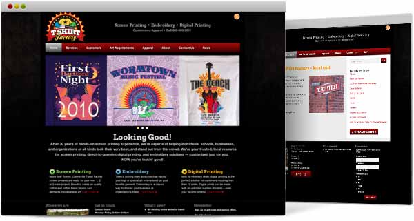 web design for Collinsville T-shirt Factory